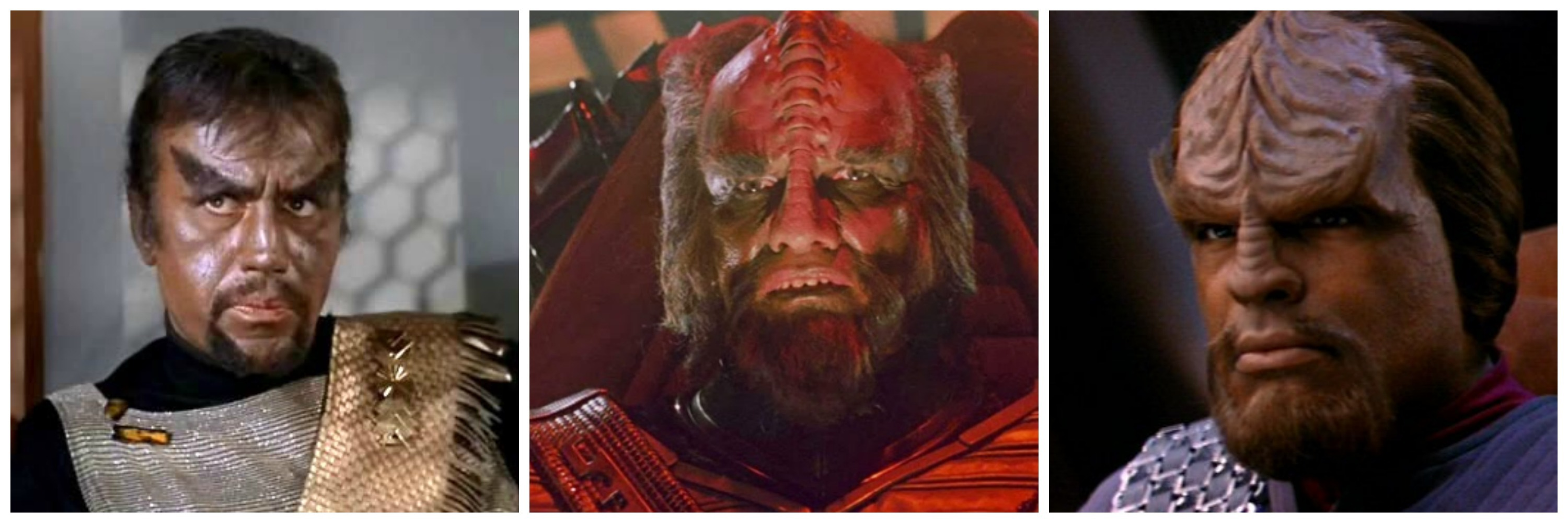 Klingons in chronological order: Kang in the original series, a Klingon Captain in 'Star Trek: The Motion Picture' and Worf. You know Worf. He's your favorite Klingon.