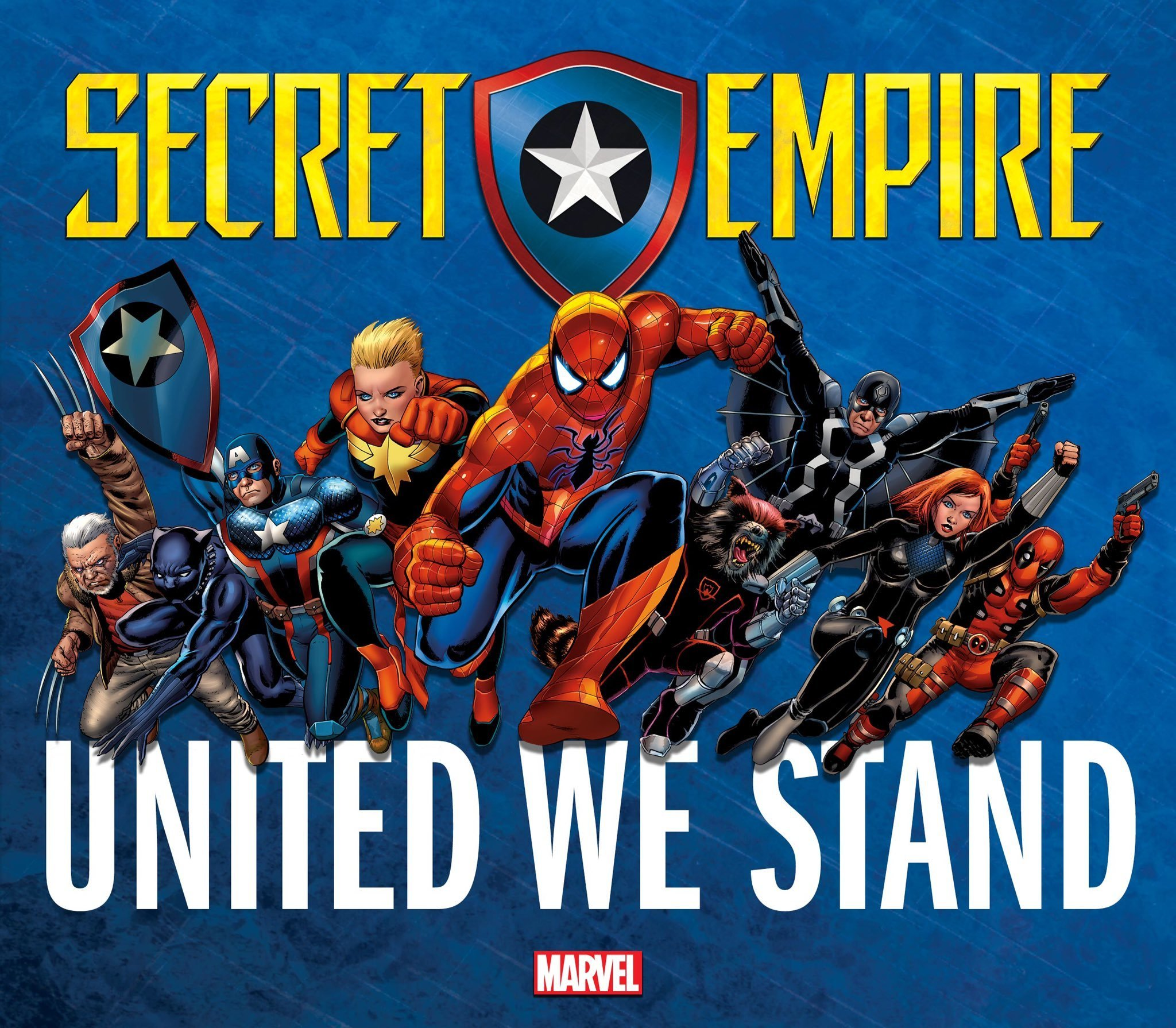 An earlier 'Secret Empire' promo image simply lines up Marvel's heroes against a yet-unnamed threat.