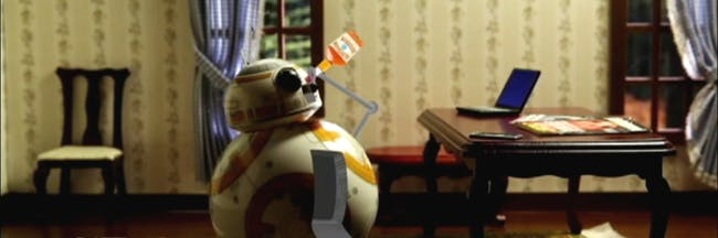 BB-8 turning to drink