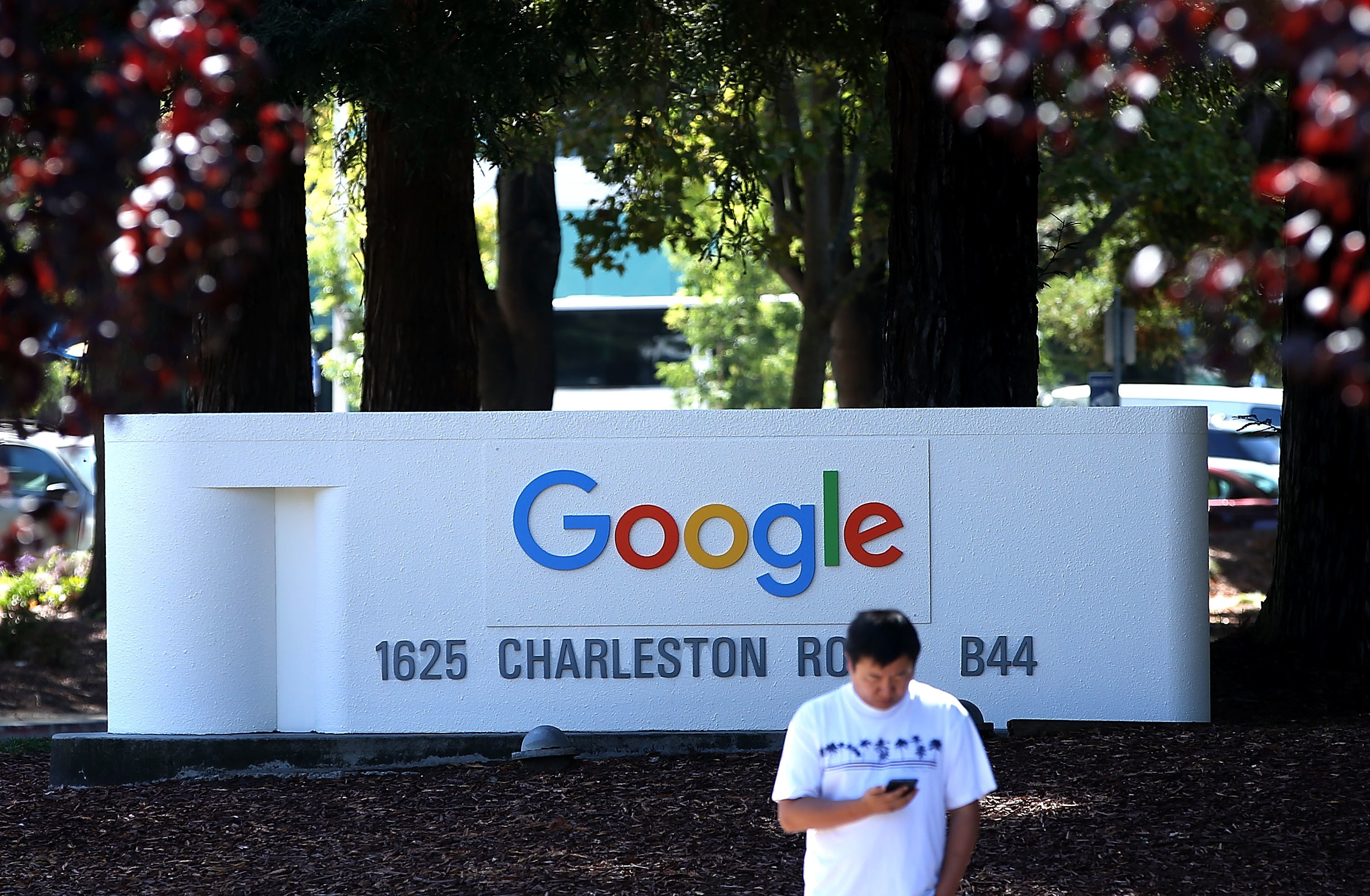 The new Google logo is displayed on a sign outside of the Google headquarters on September 2, 2015 in Mountain View, California.