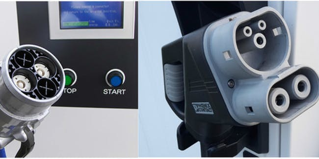 No common standard: CHAdeMO, CCS and Tesla Supercharger plugs.