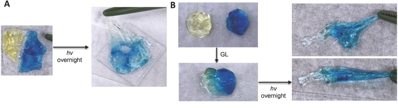 Photos showing different levels of strength of self-repairing material