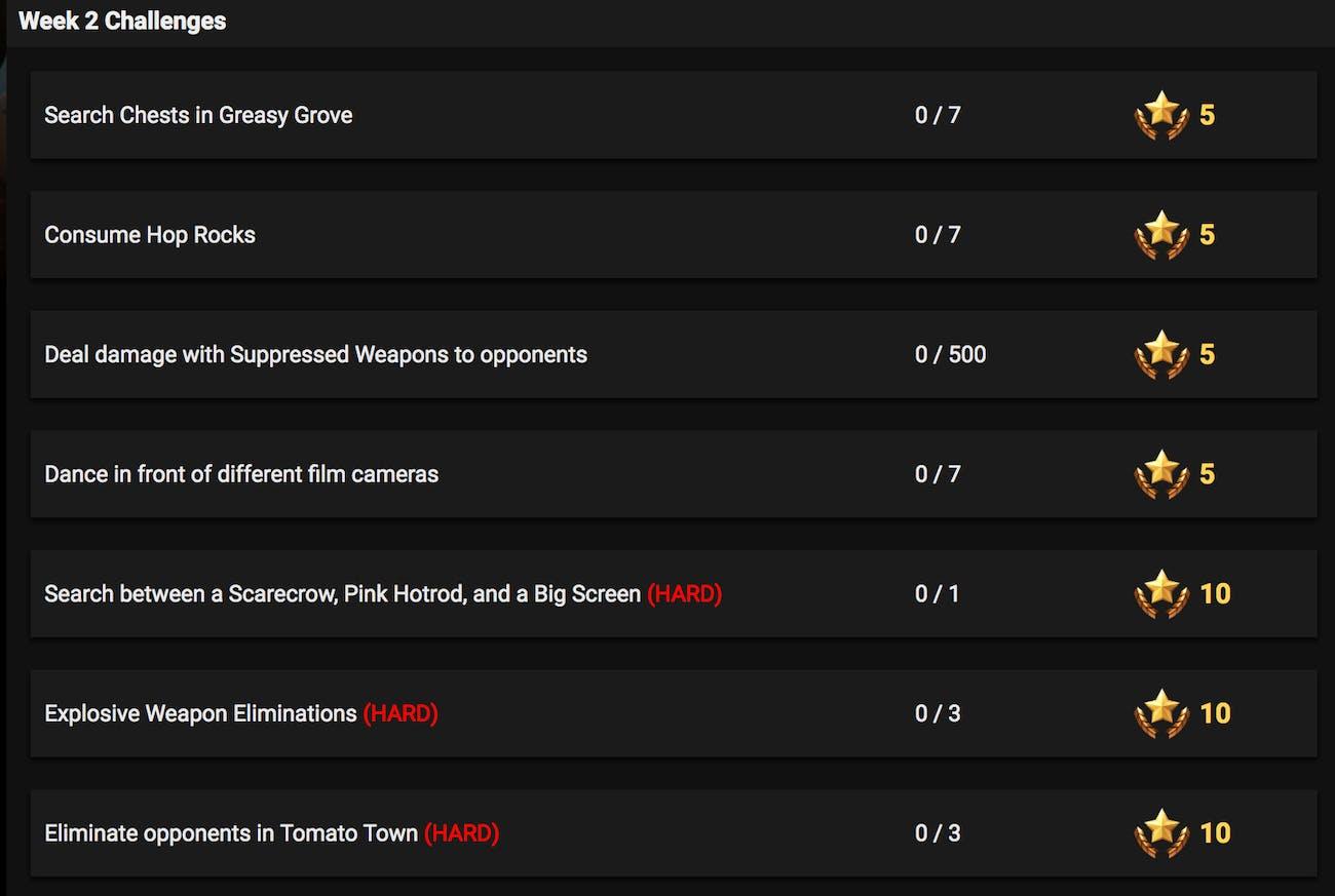 fortnite week 2 challenges leaked