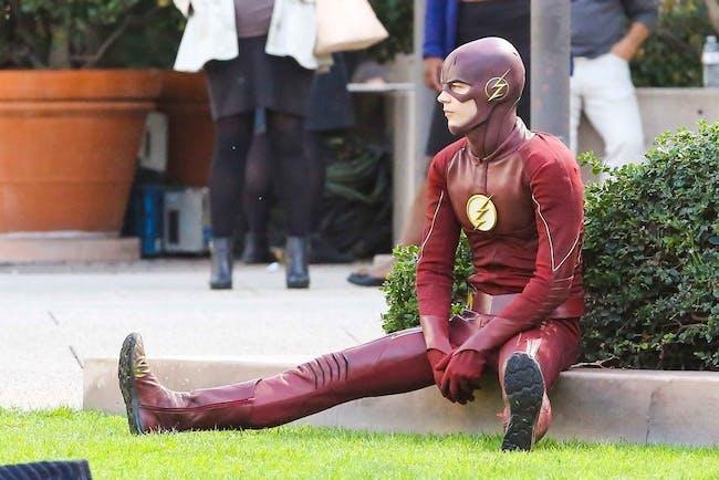 The Flash Sitting Down