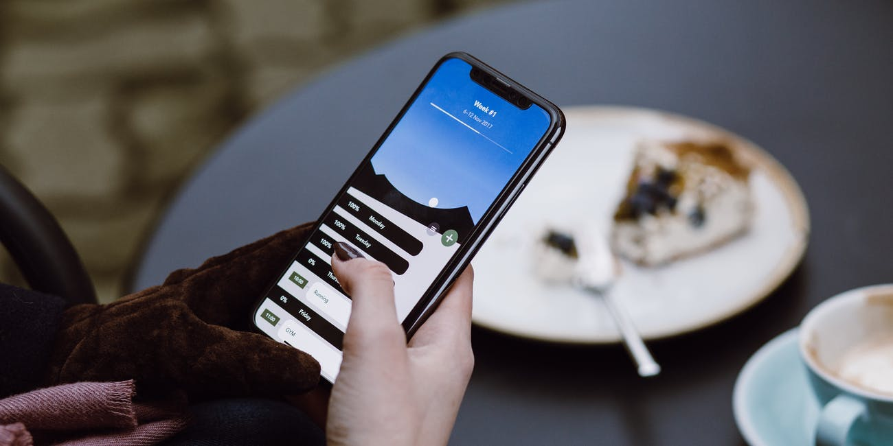 iPhone X in use.