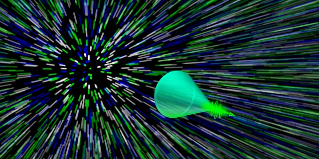 Graphic rendering of a superluminal photonic Mach cone.