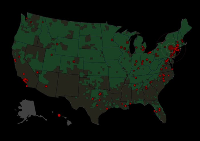"""Green areas """"have a white, non-Hispanic population above the national mean of 79.6%,"""" according to CensusScope.org. Counties shown in brown """"have a white, non-Hispanic population below that mean."""""""