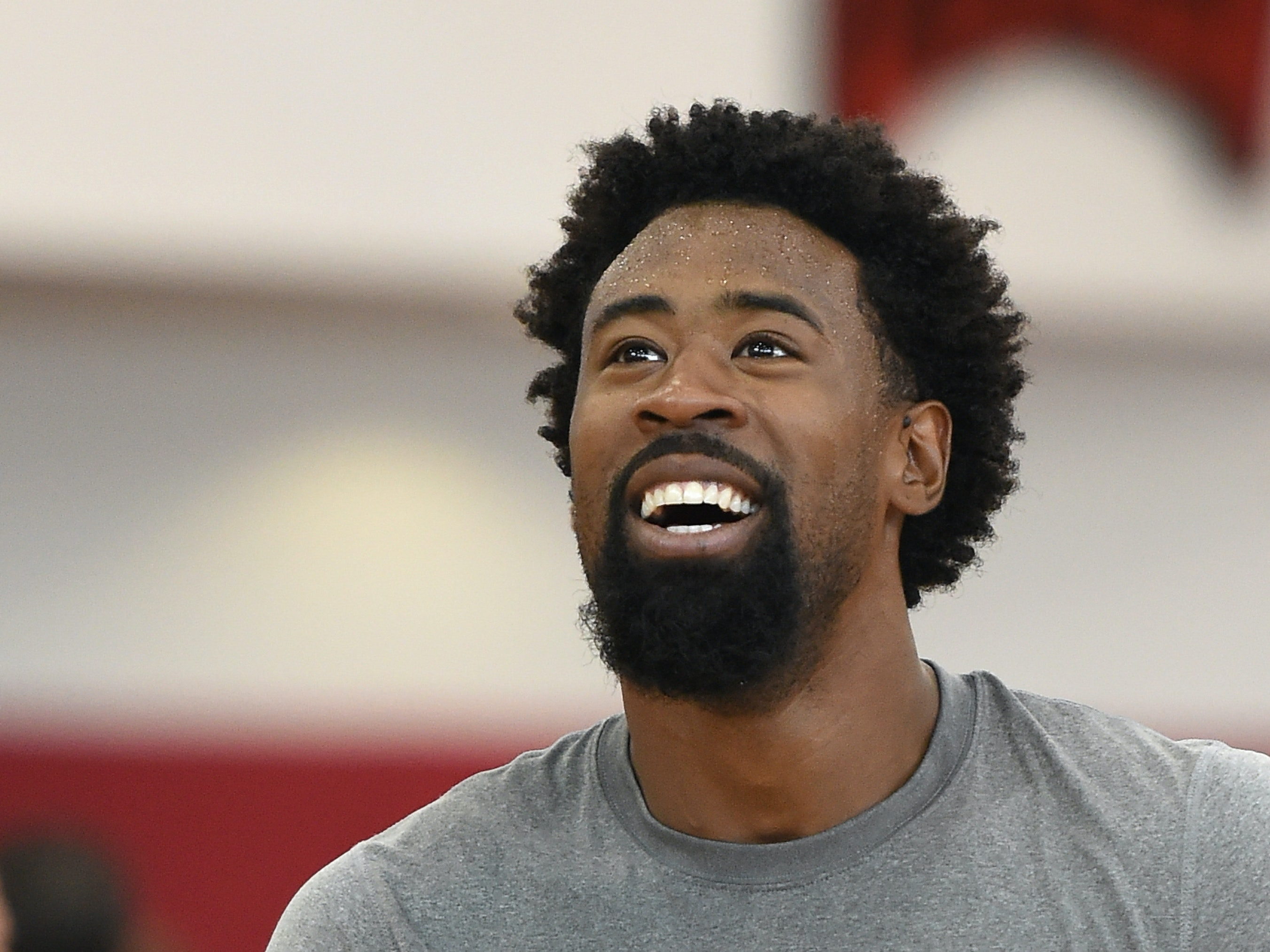 LAS VEGAS, NV - AUGUST 11:  DeAndre Jordan #53 of the 2015 USA Basketball Men's National Team smiles during a practice session at the Mendenhall Center on August 11, 2015 in Las Vegas, Nevada.  (Photo by Ethan Miller/Getty Images)