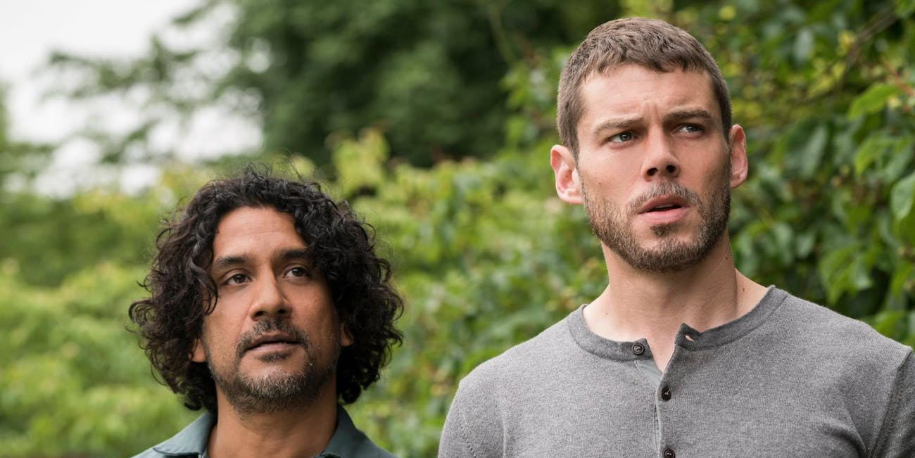 Naveen Andrews as Jonas and Will Gorski as Whispers in 'Sense8'