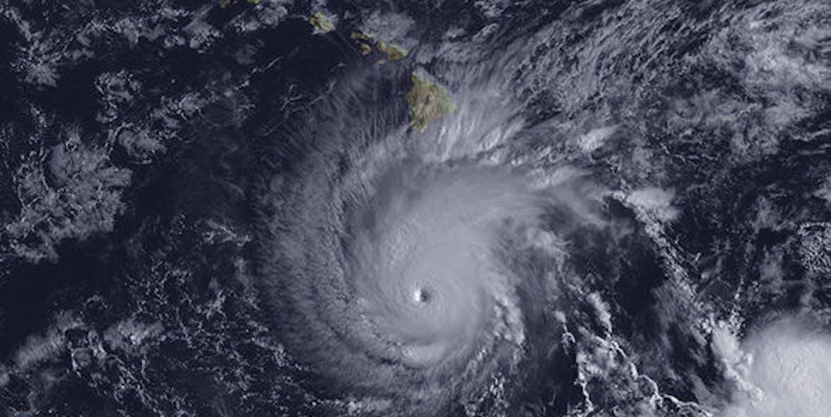 Satellite image of Hurricane Lane approaching Hawaii.