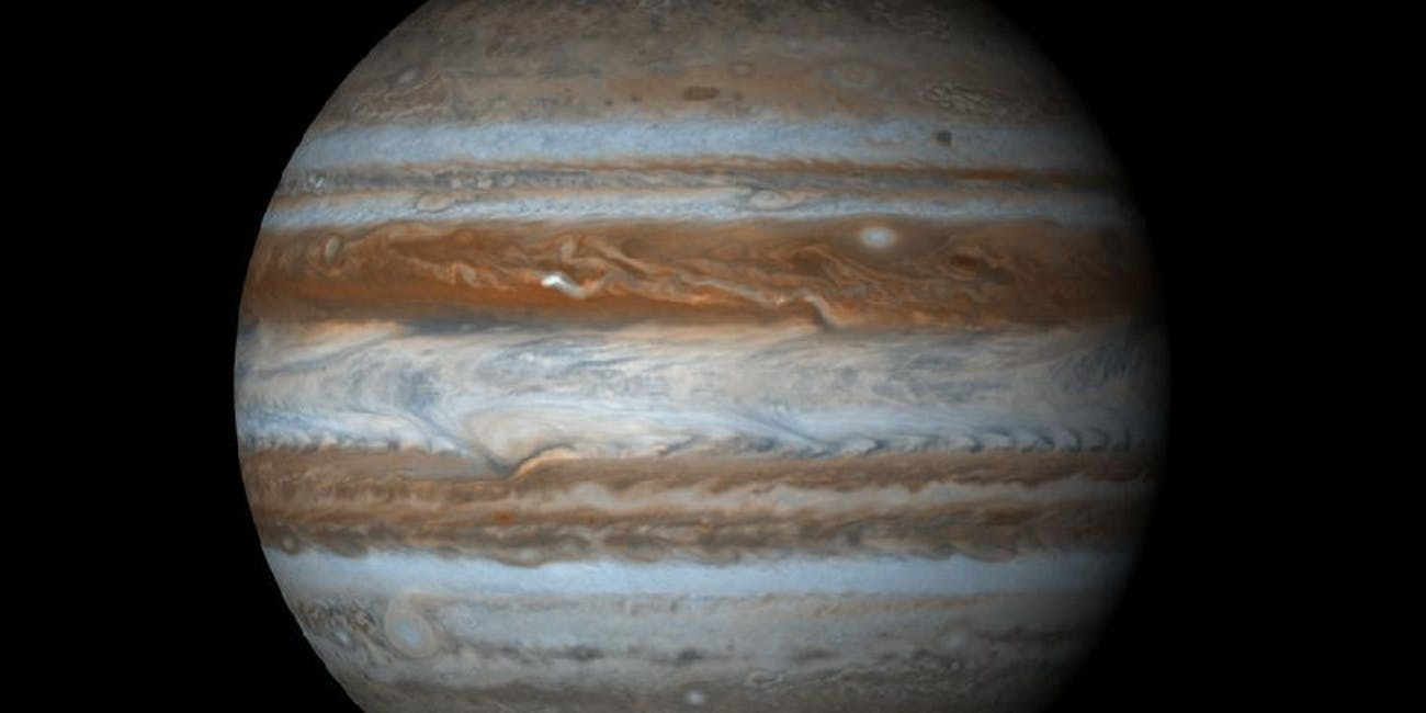 The planet Jupiter, the fifth planet from the sun and largest planet in the solar system.