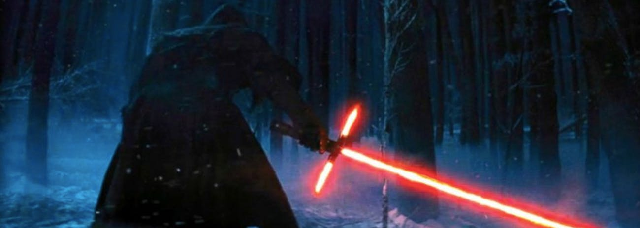 Kylo Ren in an early 'The Force Awakens' trailer. This exact shot was not in the final film.