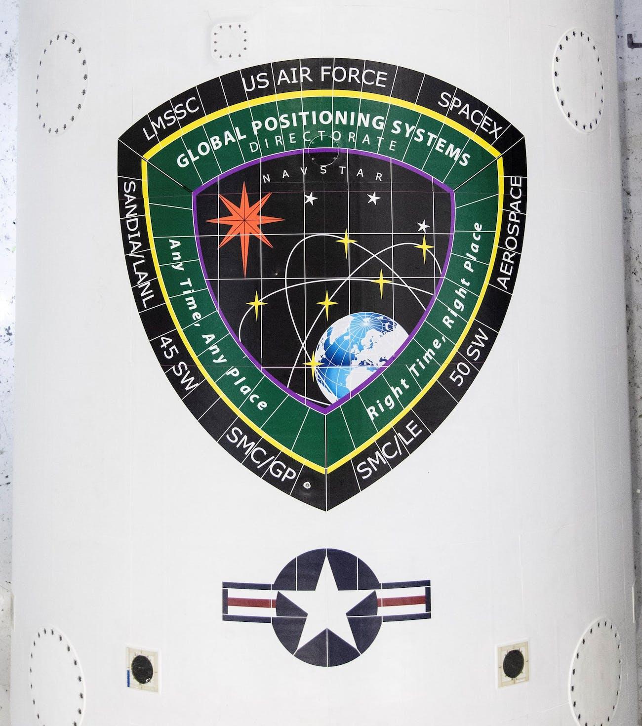The GPS logo on the rocket.