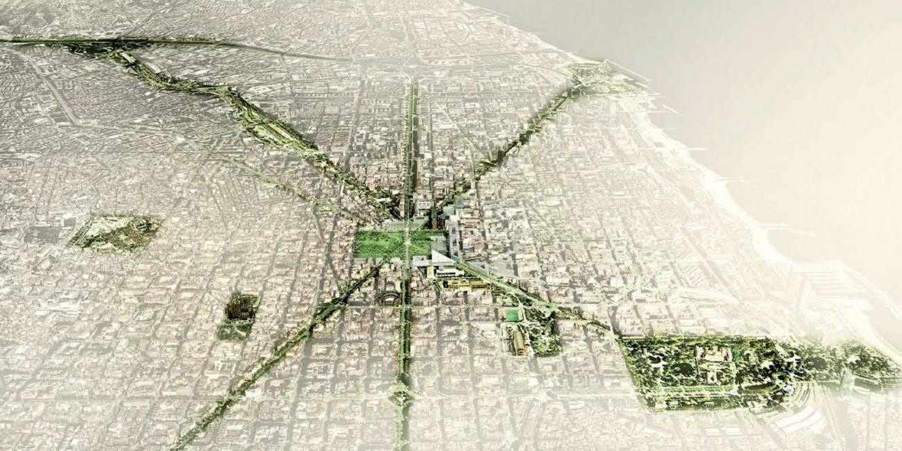Barcelona green tree canopy map city corridor urban