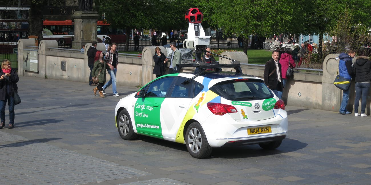 A Google Street View car driving around Edinburgh.