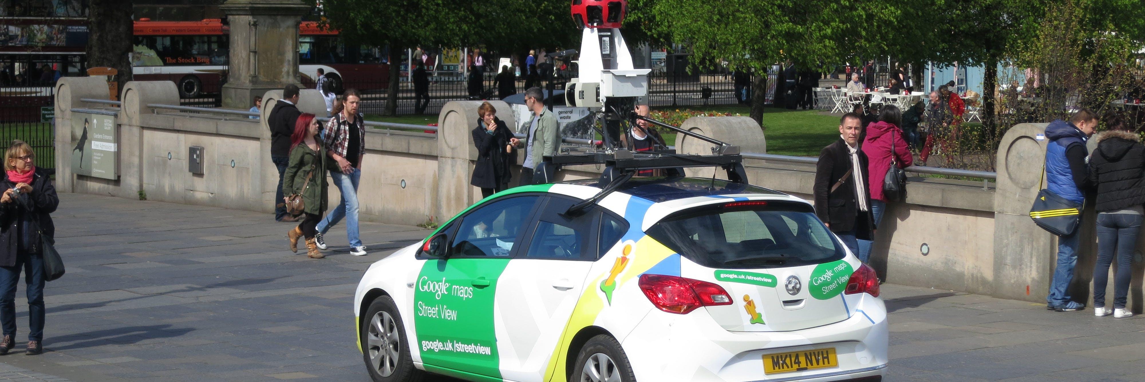 A Google Street View car driving around Edinburgh.