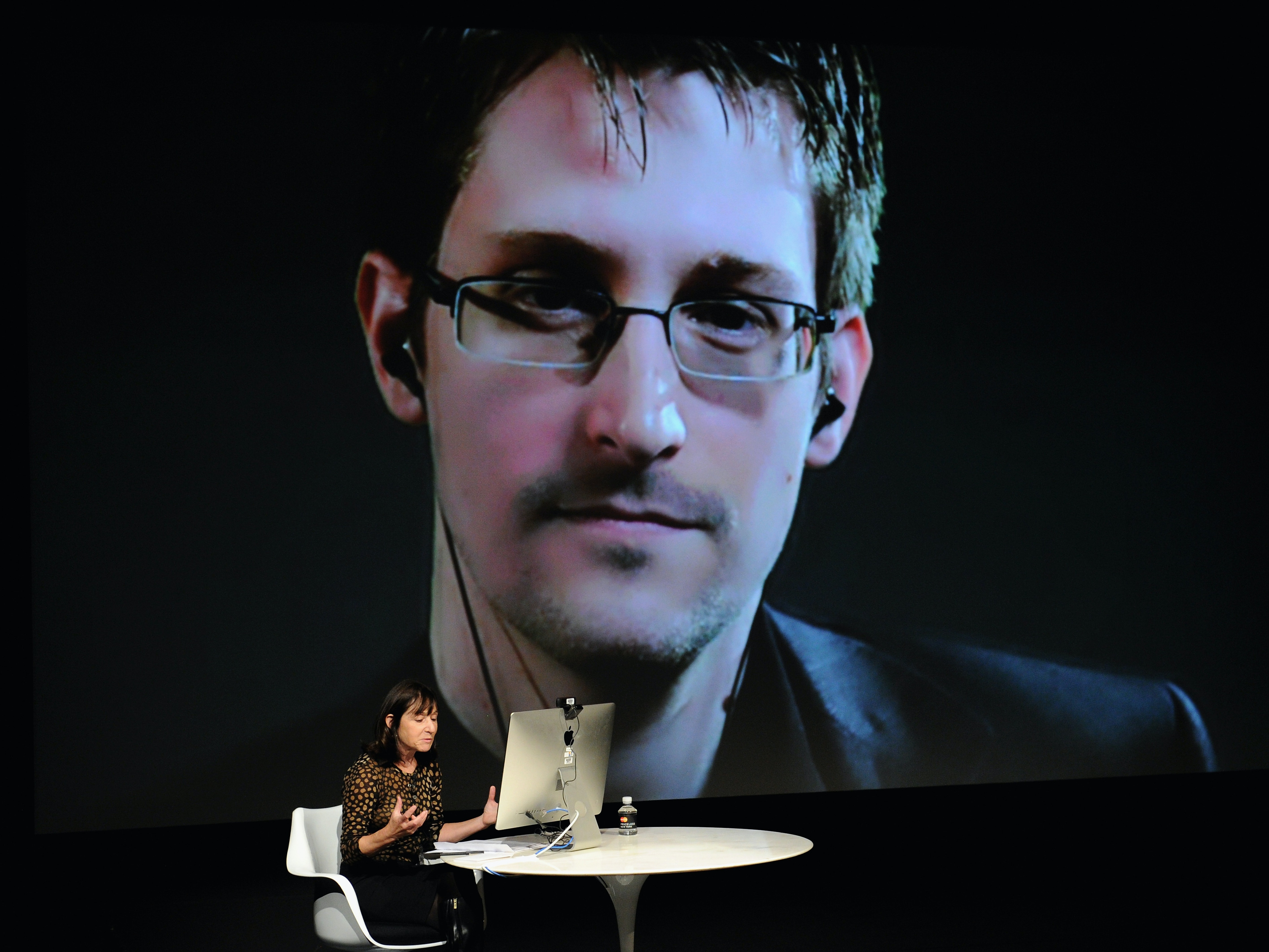 NEW YORK, NY - OCTOBER 11:  General view of atmosphere at the Edward Snowden Interviewed by Jane Mayer at the MasterCard stage at SVA Theatre during The New Yorker Festival 2014 on October 11, 2014 in New York City.  (Photo by Bryan Bedder/Getty Images for The New Yorker)