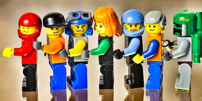 A variety of Lego people.