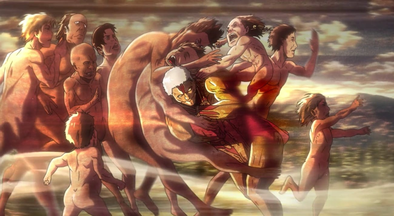 The Armored Titan is given no choice but to charge directly into a group of Titans.