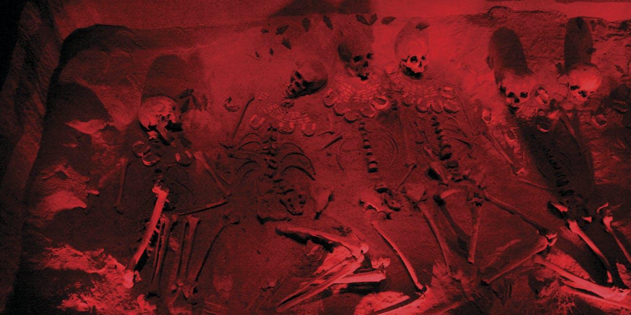 burial red light grave skeletons
