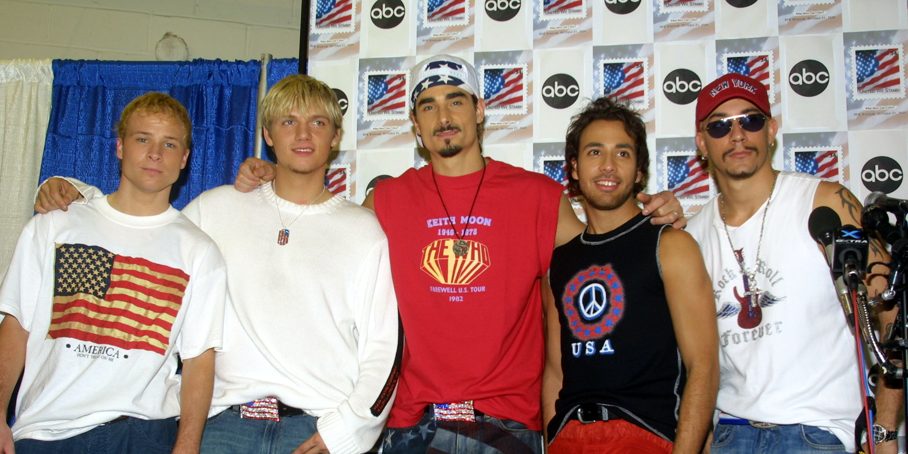 396190 04: Members of music group Backstreet Boys (L-R) Brian Littrell, Nick Carter, Kevin Richardson, A.J. McLean and Howie Dorough attend the 'United We Stand' benefit concert October 21, 2001 in Washington, DC. (Photo by Alex Wong/Getty Images)