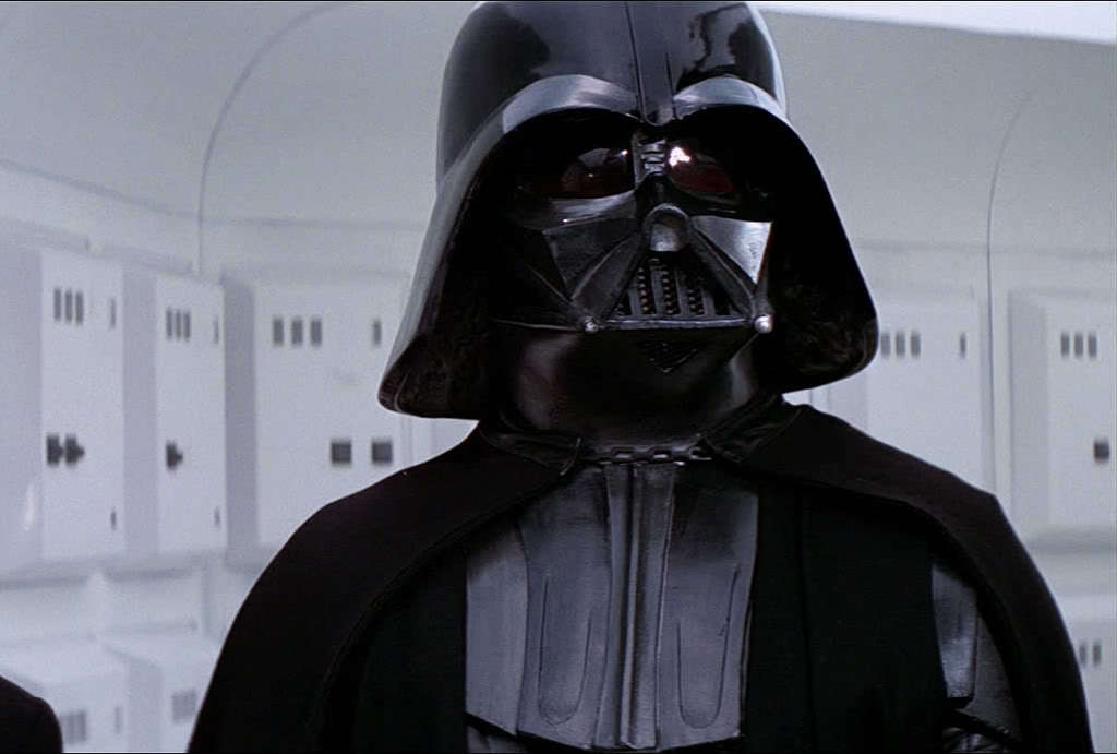 "Does this make me look thin or what? (Vader in his original 1977 outfit. Note the ""inner cloak"")"