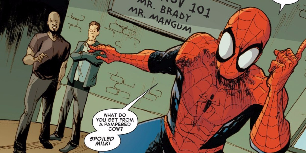 pampered man latest comic has spider man take an improv classfrom wayne