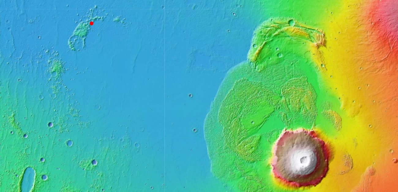 The red dot in the top left shows the first location under consideration, with Olympus Mons in the lower right.