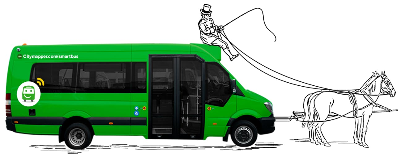 Citymapper's smart bus pulled by a horse.
