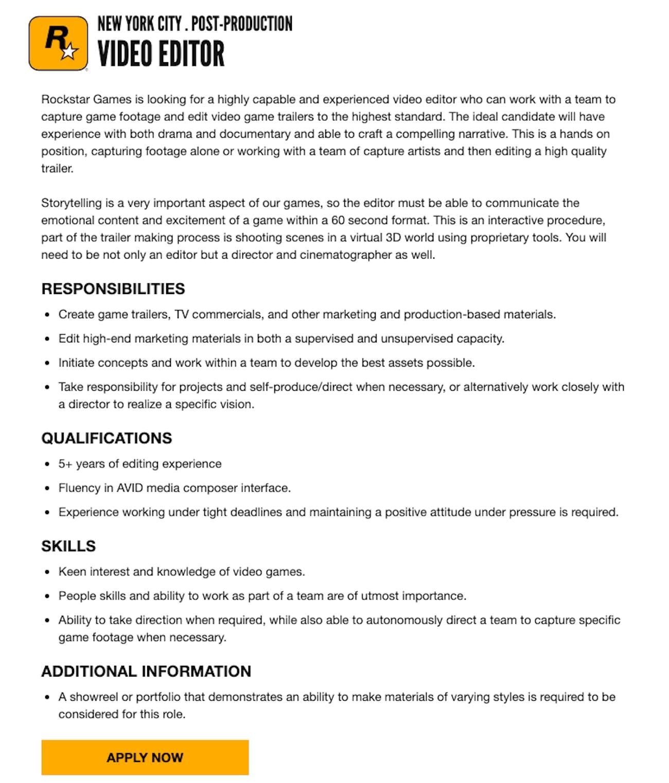 rockstar games video editor job listing gta 6 rumor