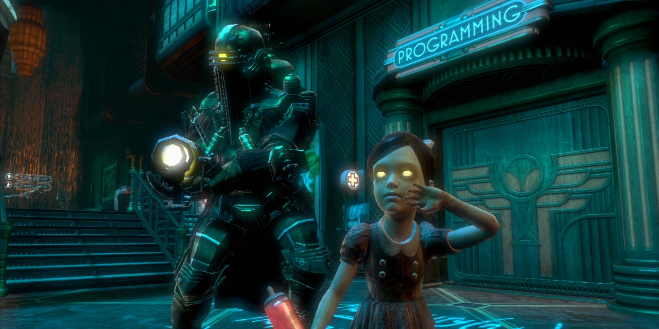 A Big Daddy stands with a Little Sister in the Rapture of 'Minerva's Den'.