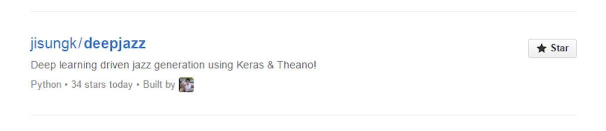 Deepjazz is still trending on GitHub today.
