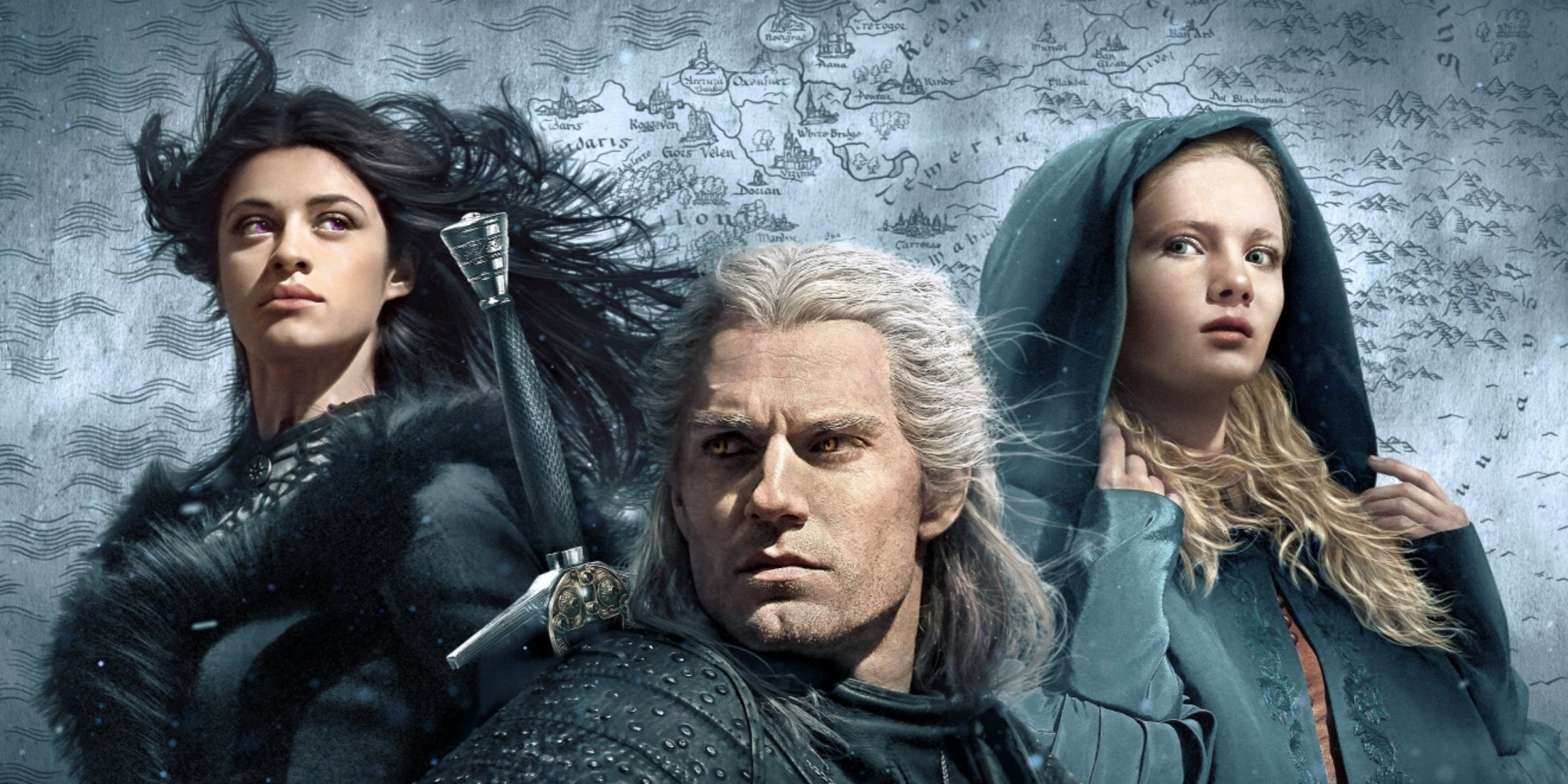 Yennefer, Geralt, and Ciri in 'The Witcher' on Netflix
