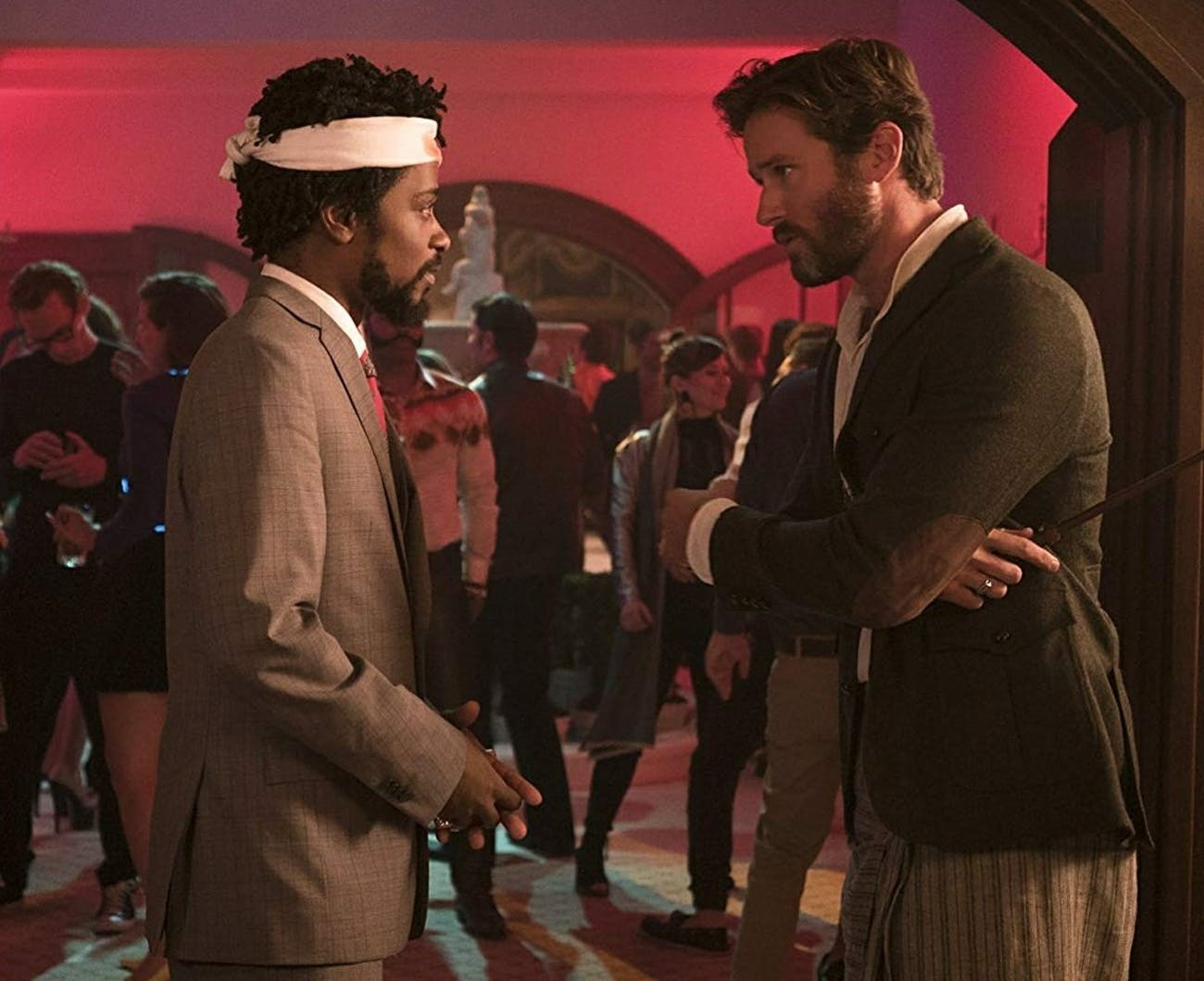 """Lakeith Stanfield as Cassius """"Cash"""" Green and Armie Hammer as Steve Lift in 'Sorry to Bother You'."""