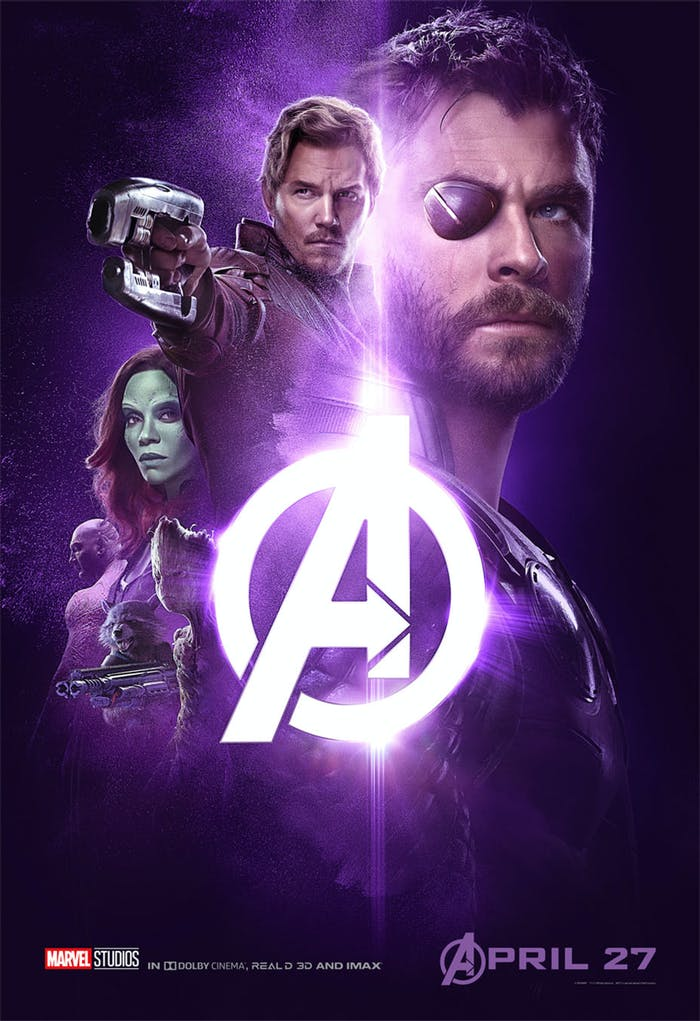 'Infinity War' poster has Thor, Star-Lord, Gamora, Drax, Rocket, and Groot.
