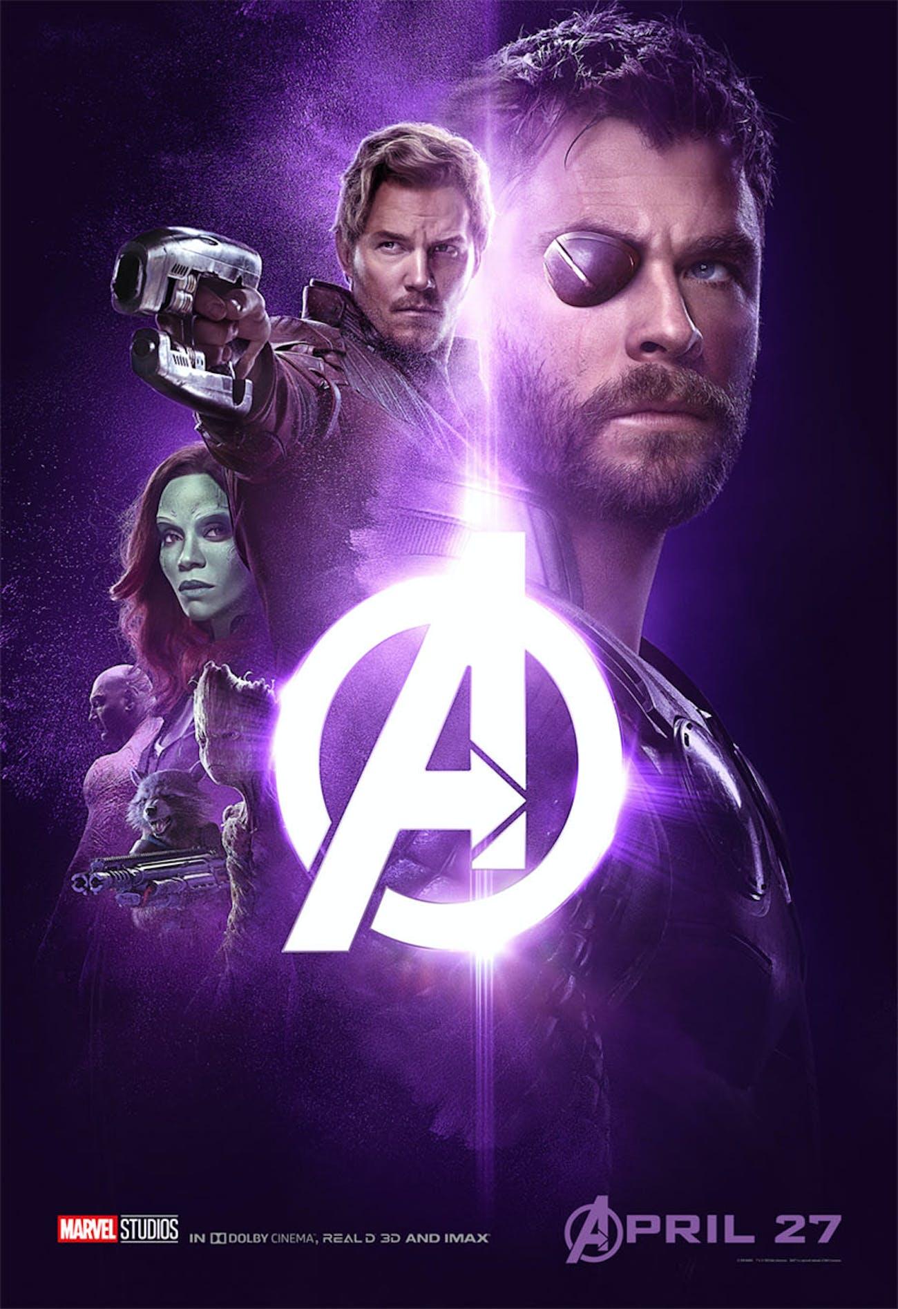 'Infinity War' poster has Thor, Star-Lord, Gamora, Drax, Rocket, and Groot.