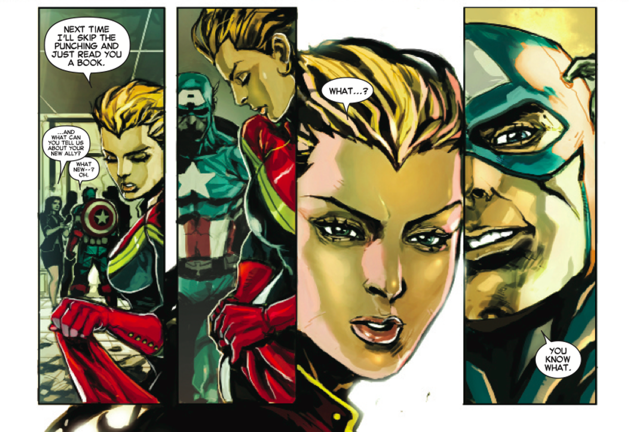 Captain Marvel becoming, you know, Captain Marvel.