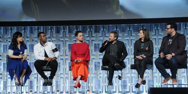 ORLANDO, FL - APRIL 14:  Kelly Marie Tran, John Boyega, Daisy Ridley, Rian Johnson, Kathleen Kennedy and Josh Gad attend the Star Wars: The Last Jedi panel during the 2017 Star Wars Celebration at Orange County Convention Center on April 14, 2017 in Orlando, Florida.  (Photo by Gerardo Mora/Getty Images for Disney)