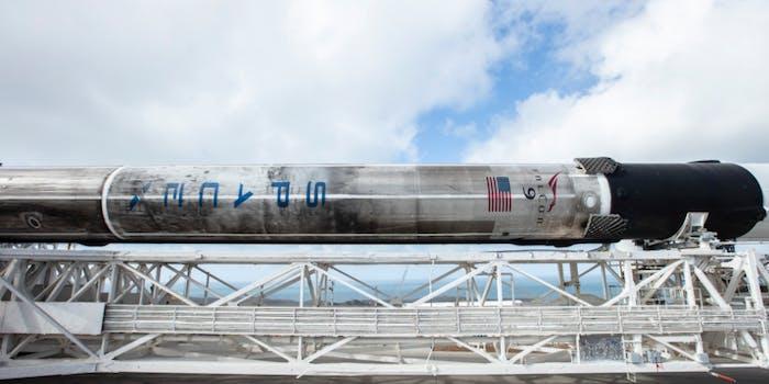 Falcon 9 descending on December 3, 2018.