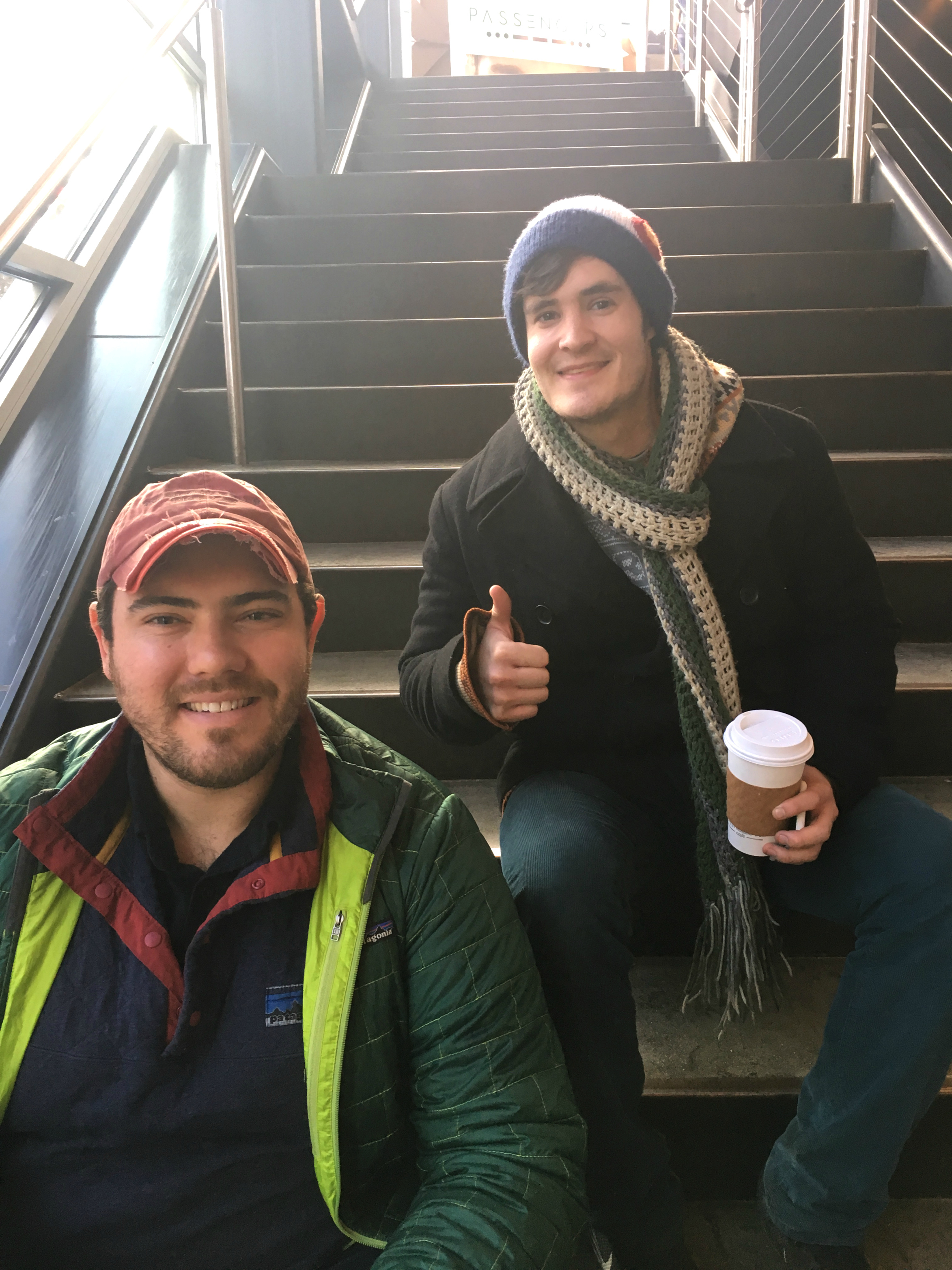 Elliot Anderson (left) and Nate Cotanch wait in line mid-day on December 16.