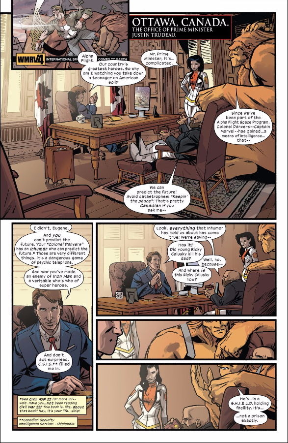 Justin Trudeau, Canada's Prime Minister, appears in 'Civil War II: Choosing Sides' #5.