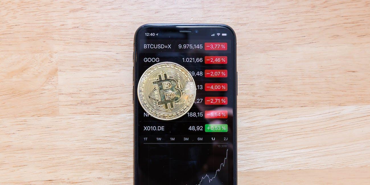 Bitcoin-Kursanstieg 2017 dargestellt auf der Aktien-App des Apple iPhone X