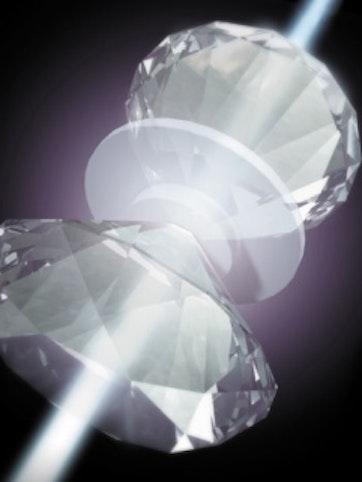 Rendering of metallic hydrogen pressurized between diamonds.