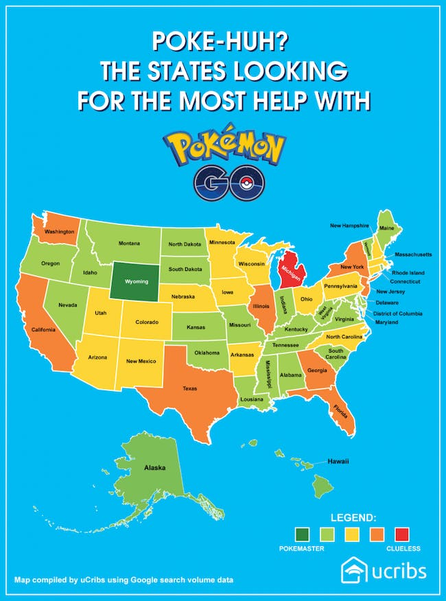 Map Shows What U S States Are Bad At Pokemon Go Inverse