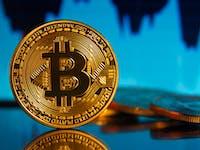 Bitcoins reflecting stock price area chart