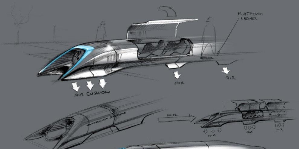 A Hyperloop conception by Elon Musk.