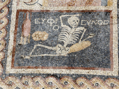 "Archaeologists Discover Ancient Skeleton Meme-Mural Saying ""Be Cheerful and Live Your Life"""