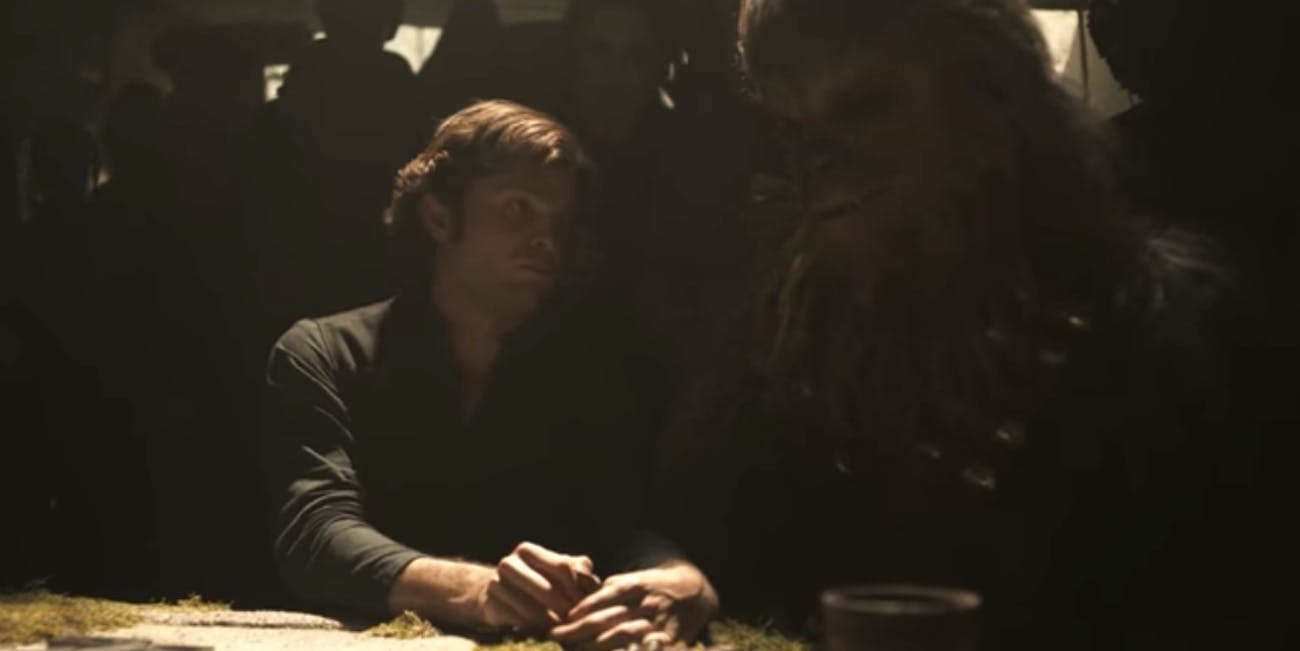 Han and Chewie have terrible poker faces in 'Solo.'