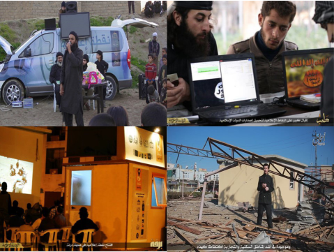Islamic State media photos. Clockwise from top left: a mobile media van, individuals at a media station, British hostage John Cantlie broadcasting for IS, a public screening of IS propaganda.