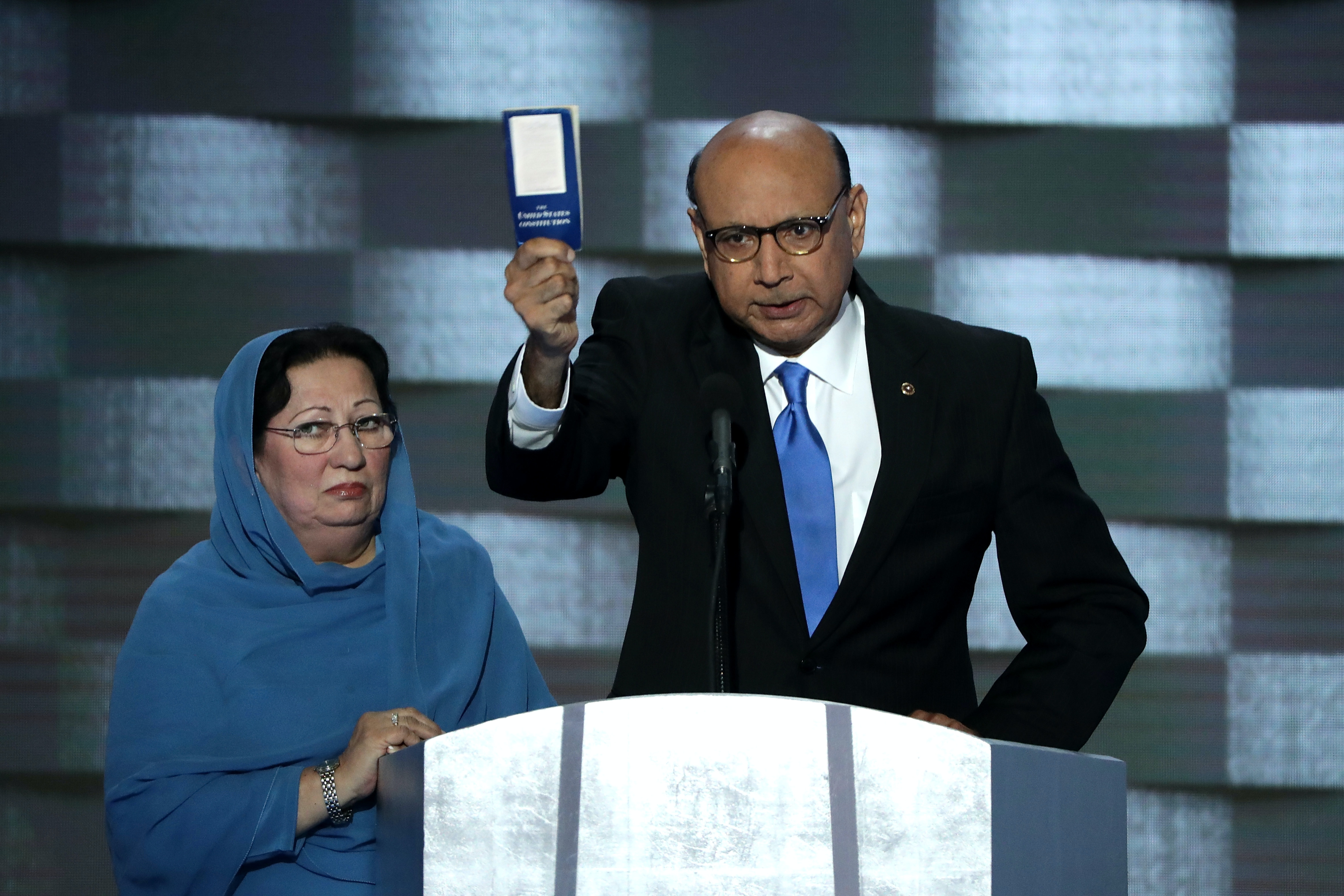 Khizr Khan, father of deceased Muslim U.S. Soldier Humayun S. M. Khan, holds up a booklet of the U.S. Constitution at the Democratic National Convention on July 28.